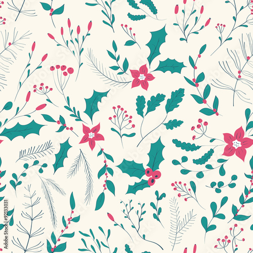 Cotton fabric Seamless floral pattern with winter plants.