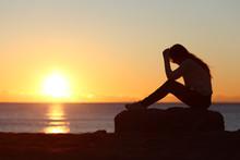 Sad Woman Silhouette Worried O...