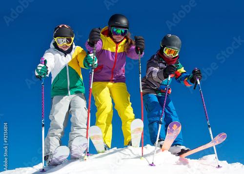 Poster Wintersporten Gruppe Skikids