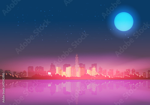 Staande foto India City Skyline at Night with Reflections Background - Vector Illustration