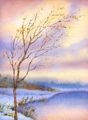 FototapetaWatercolor landscape. Yellowed tree over snow-covered lake