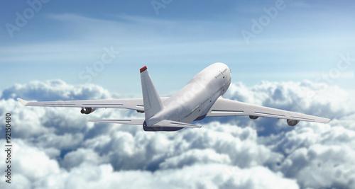Aeroplano vola nuvole cielo Canvas Print