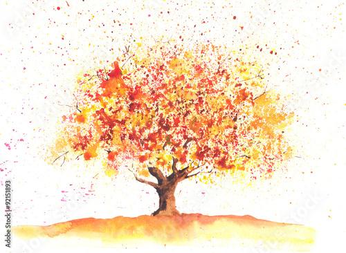 akwarela-jesienne-drzewa