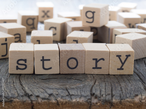 Story word, made of wooden letters