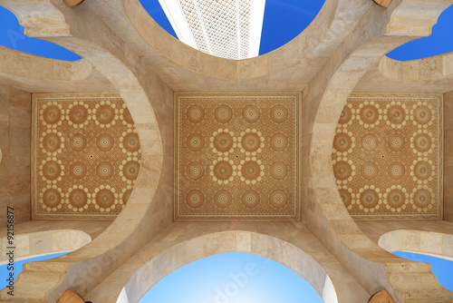 Poster Maroc Morocco. Arcade and ceiling of Hassan II Mosque in Casablanca