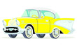 Caricatura Chevrolet BelAir 1957 coupe amarillo vista frontal y lateral