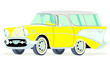 Caricatura Chevrolet BelAir 1957 Nomad amarillo vista frontal y lateral