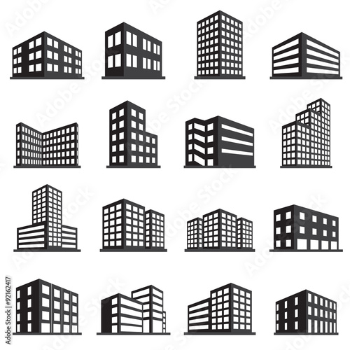 Buildings icon and office icon set Wall mural