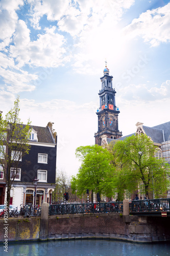 Wall Murals Bridges Beautiful view of Amsterdam over canal and church