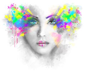 FototapetaMulticolored abstractn Woman Beautiful portrait illustration
