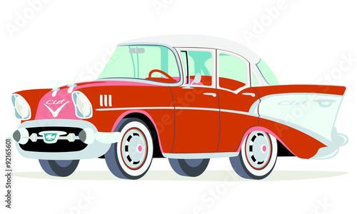 Caricatura Chevrolet Belair 1957 Sedan Rojo Frontal Y Lateral Buy