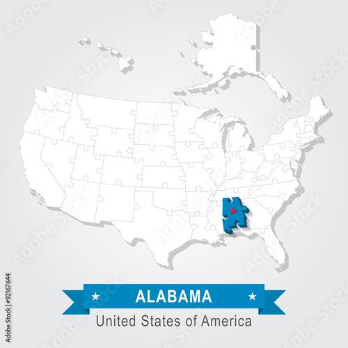 Alabama state. USA administrative map. – kaufen Sie diese ...