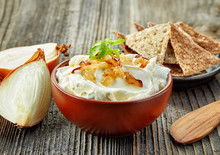 Bowl Of Cream Cheese With Caramelized Onions