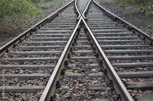 Keuken foto achterwand Spoorlijn splitting railroad, double-track railroad, rail tracks