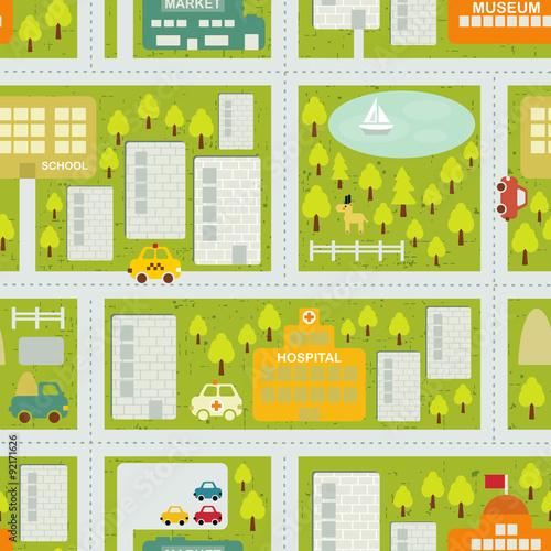 Deurstickers Op straat Cartoon map seamless pattern of summer city.