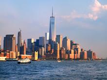 The Downtown Manhattan Skyline At Sunset