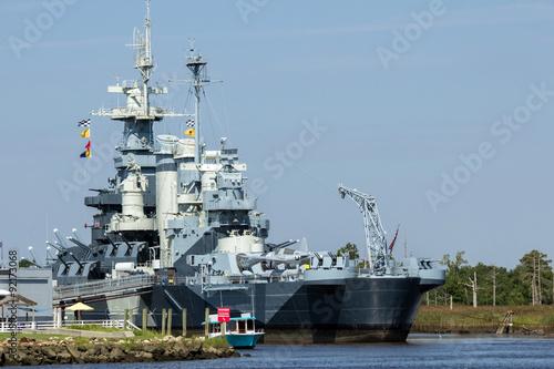 Photo NC Battleship - Gray Multi Tiered Battleship with Guns Communication Equipment a
