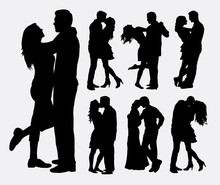 Couple Loving People Silhouettes. Good Use For Symbol, Logo, Web Icon, Mascot, Or Any Design You Want.