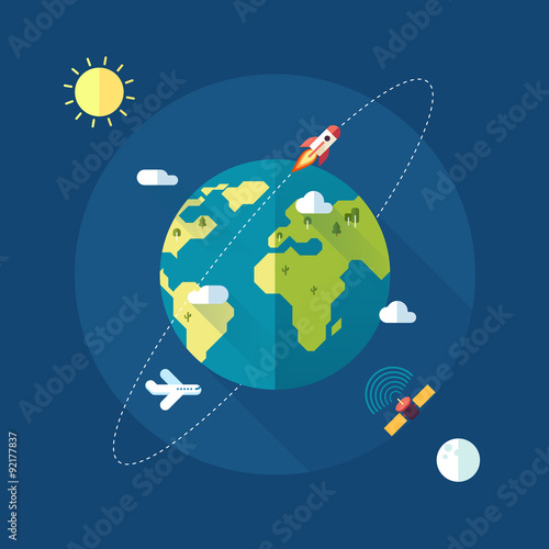 Foto op Aluminium Pixel Earth banner with sun, moon, stars and space rocket