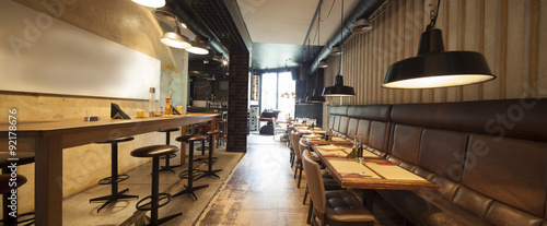 Tuinposter Restaurant seamless panorama of restaurant bar interior made by tilt shift lens