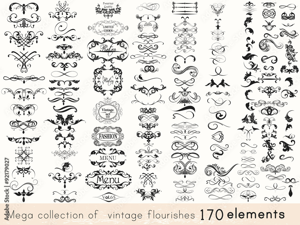 Fototapety, obrazy: Set of vector calligraphic elements and page decorations