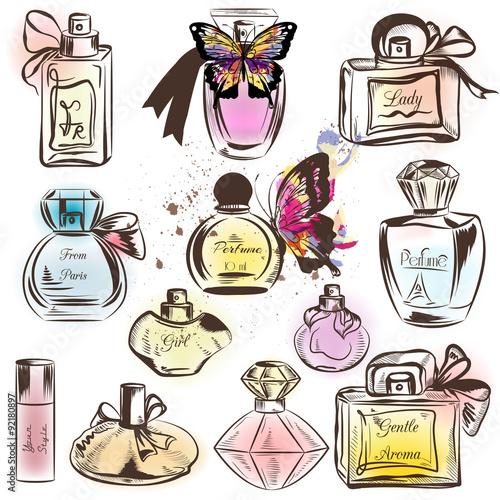 Cotton fabric Set of different perfumes. Elegant vector illustration