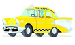 Caricatura Chevrolet BelAir 1957 taxi Nueva York vista frontal y lateral