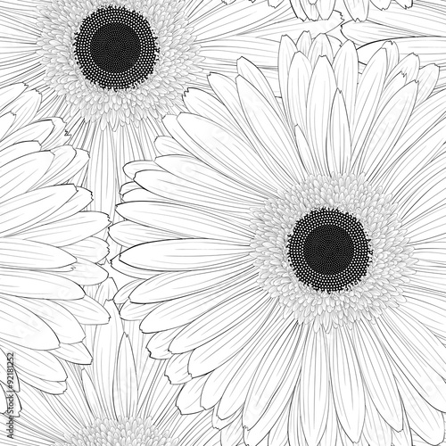 Beautiful monochrome, black and white seamless background with gerbera flower Tableau sur Toile