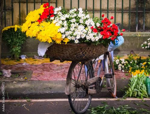 Aluminium Prints Bicycle Flower on bicycle in small market, hanoi, vietnam