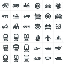 Vector Black Transport Icons S...