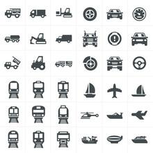 Vector Black Transport Icons Set On Gray