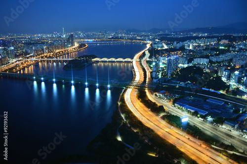 Fotobehang Seoel 漢江の夜景 韓国・ソウル