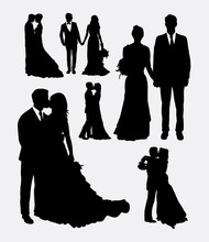 Wedding, Male And Female In Love Silhouettes. Good Use For Symbol, Logo, Web Icon, Mascot, Or Any Design You Want.