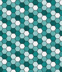 Fototapeta Wzory geometryczne Teal, Black and White Hexagon Mosaic Abstract Geometric Design T