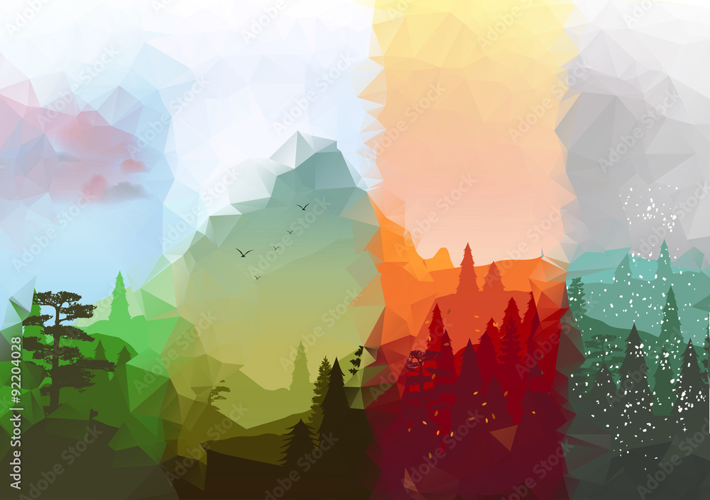 Fototapety, obrazy: Four Seasons Banners with Abstract Forest and Mountains - Vector Illustration