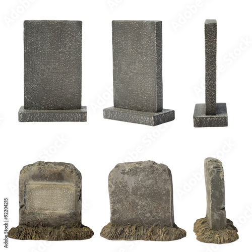 Leinwand Poster Set of tombstone isolated on white background