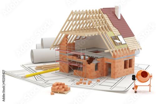 Obraz House construction - white background  - fototapety do salonu