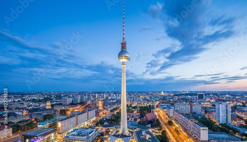 Fotobehang Berlijn Berlin skyline with TV tower at Alexanderplatz at night, Germany