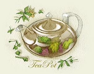 Fototapeta Sketch of tea cups and teapots. Fullsize raster artwork.