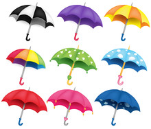 Set Of Nine Different Coloured Umbrellas