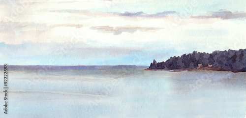 Photo Stands Light blue Water view landscape - lake or sea, island, sky. Watercolor.