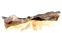 Watercolor View Of Mountains