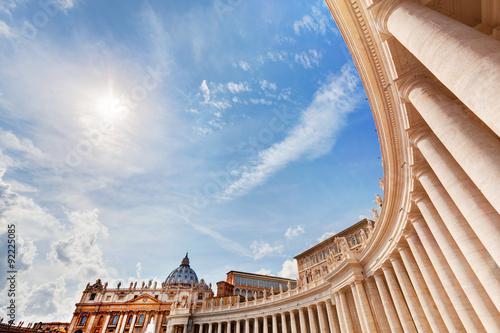 St. Peter's Basilica colonnades, columns in Vatican City. Fotobehang
