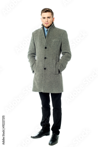 Fotografie, Obraz  Handsome elegant man in overcoat, isolated
