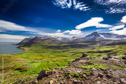Canvas Print Mountains in the western fjords, Iceland