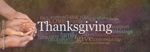 Fototapeta Thanksgiving Word Cloud Website Banner - Female cupped hands cradled by male hands outstretched with a white 'Thanksgiving' word floating above and relevant word cloud on a stone effect background obraz