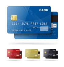 Set Of Credit Cards Isolated O...