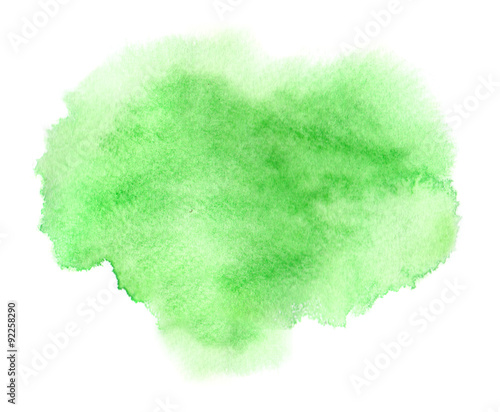 Colorful green watercolor stain with aquarelle paint wet blotch Canvas Print