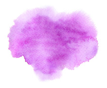 Violet Watercolor Or Ink Stain With Water Colour Paint Blotch