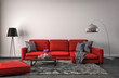 canvas print picture - interior with red sofa. 3d illustration